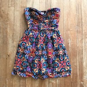 Band of Gypsies Floral Strapless Mini Dress